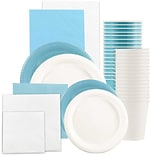 JAM Paper® Party Supply Assortment, Sea Blue & White Grad Pack, Plates (2sizes), Napkins (2sizes), C