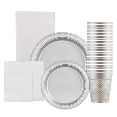 JAM Paper Party Supply Assortment, Silver, Plates, Napkins, Cups (1pk) & Tablecloth (1pk), 6 Items Total