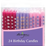 JAM Paper® Birthday Candle Sticks, Polka Dot Design Candles, 2 3/8 x 1/4, Violet, Fuchsia & Baby P