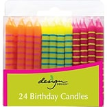 JAM Paper® Birthday Candle Sticks, Striped Design Candles, 2 3/8 x 1/4, Orange, Yellow & Fuchsia w