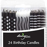 JAM Paper® Birthday Candle Sticks, Black & White Design Candles, 2 3/8 x 1/4, Polka Dots & Stripes
