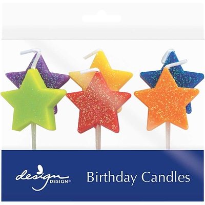 JAM Paper® Specialty Birthday Candles, Glitter Stars Birthday Candle Set, 2 3/4 x 3/4, 6/pack