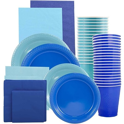 JAM Paper Party Supply Assort, Blue & Sea Blue Grad Pack, Plates (2 Sizes), Napkins (2 Sizes), Cups & Tablecloths, 12 Total