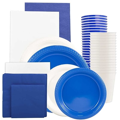 JAM Paper Party Supply Assortment, Blue & White Grad Pack, Plates, Napkins, Cups & Tablecloths, 12 Total