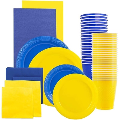 JAM Paper® Party Supply Assort, Blue & Yellow Grad Pack, Plates (2 Sizes), Napkins (2 Sizes), Cups & Tablecloths, 12 Total