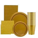 JAM Paper® Party Supply Assortment, Gold, Plates (2 Sizes), Napkins (2 Sizes), Cups (1pk) & Tableclo