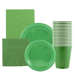 JAM Paper® Party Supply Assortment, Green, Plates (2 Sizes), Napkins (2 Sizes), Cups (1pk) & Tablecl