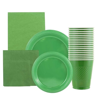 JAM Paper® Party Supply Assortment, Green, Plates (2 Sizes), Napkins (2 Sizes), Cups & Tablecloth, 6 Items/Set (255PPgrn)