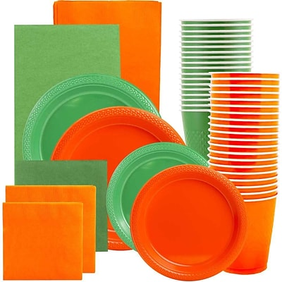 JAM Paper® Party Supply Assort, Green & Orange Grad Pack, Plates (2 Sizes), Napkins (2 Sizes), Cups & Tablecloths, 12 Total