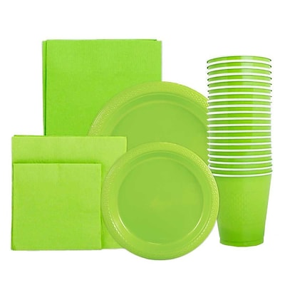 JAM Paper Party Supply Assort, Lime Green, Plates (2 Sizes), Napkins (2sizes), Cups (1pk) & Tablecloth (1pk), 6 Items Total