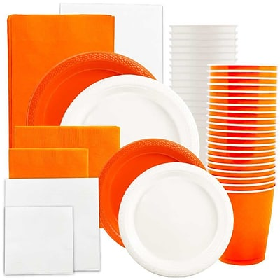 JAM Paper® Party Supply Assort, Orange & White Grad Pack, Plates (2 Sizes), Napkins (2 Sizes), Cups & Tablecloths, 12 Total