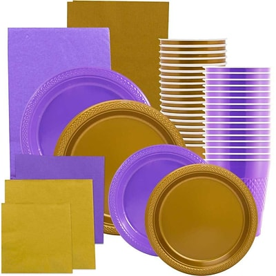 JAM Paper® Party Supply Assort, Purple & Gold Grad Pack, Plates (2 Sizes), Napkins (2 Sizes), Cups & Tablecloths, 12 Total