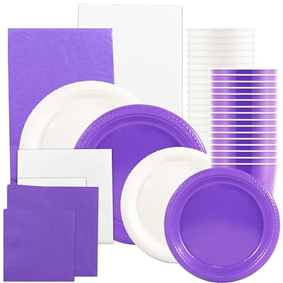 JAM Paper® Party Supply Assort, Purple & White Grad Pack, Plates (2 Sizes), Napkins (2 Sizes), Cups & Tablecloths, 12 Total