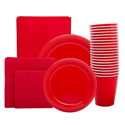 JAM Paper® Party Supply Assortment, Red, Plates (2 Sizes), Napkins (2 Sizes), Cups & Tablecloth, 6 Items/Set (255PPre)