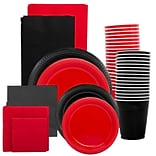 JAM Paper® Party Supply Assortment, Red & Black Grad Pack, Plates (2 Sizes), Napkins (2 Sizes), Cups