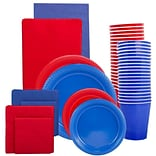 JAM Paper® Party Supply Assortment, Red & Blue Grad Pack, Plates (2 Sizes), Napkins (2 Sizes), Cups