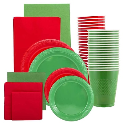 JAM Paper® Party Supply Assortment, Red & Green, Plates (2 Sizes), Napkins (2 Sizes), Cups & Tablecloths, 12/Set (225PP2RG)