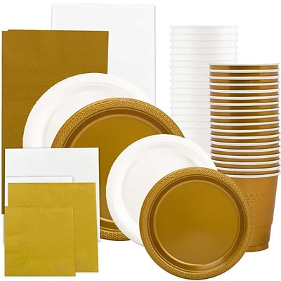 JAM Paper Party Supply Assortment, White & Gold Grad Pack, Plates, Napkins, Cups & Tablecloths, 12 Total