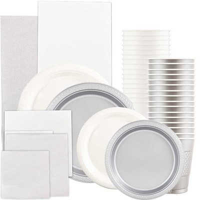 JAM Paper® Party Supply Assort, White & Silver Grad Pack, Plates (2 Sizes), Napkins (2 Sizes), Cups & Tablecloths, 12 Total
