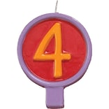JAM Paper® Birthday Number Candles, # 4 Rounded Number Candle, 2 1/2 x 1 3/4, Sold Individually
