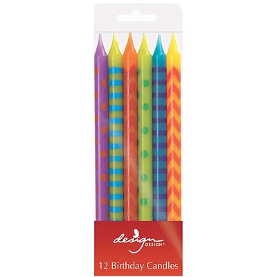 JAM Paper® Birthday Candle Sticks, Pattern Design Candle Sticks, 4 x 1/4, Multi Color Assortment, 12/pack