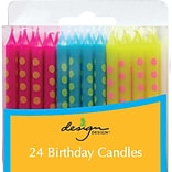 JAM Paper® Birthday Candle Sticks, Polka Dot Design Candles, 2 3/8 x 1/4, Blue, Fuchsia & Yellow w