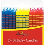 JAM Paper® Birthday Candle Sticks, Striped Design Candles, 2 3/8 x 1/4, Blue, Yellow & Red with St