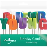 JAM Paper® Specialty Birthday Candles,  Forever Young  Birthday Candle Set, 2 3/4 x 3/4, 12/pack