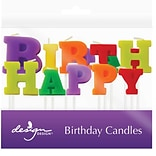 JAM Paper® Specialty Birthday Candles,  Happy Birthday  Specialty Candle Set, 2 3/4 x 1, 13/pack
