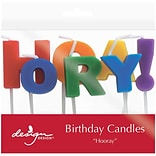 JAM Paper® Specialty Birthday Candles,  Hooray !  Birthday Candle Set, 2 3/4 x 3/4, 7/pack