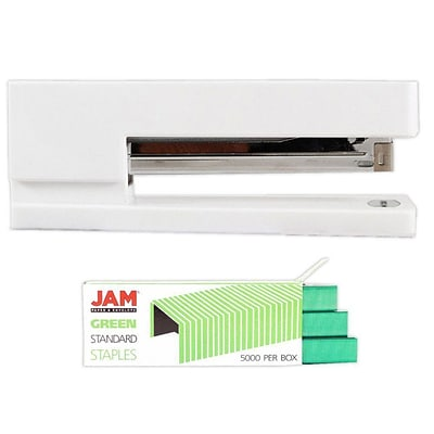 JAM Paper® Office & Desk Sets, (1) Stapler (1) Pack of Staples, White and Green, 2/pack