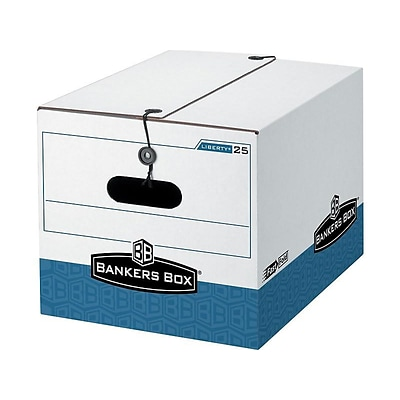 Bankers Box Stor/File Medium-Duty FastFold File Storage Boxes, String & Button, Letter/Legal Size, White/Blue, 12/Carton (00025)