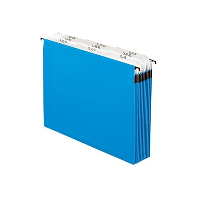Pendaflex SureHook Expanding File, 5.25 Expansion, A-Z Index, Letter Size, 10-Pocket, Blue (PFX 59225)