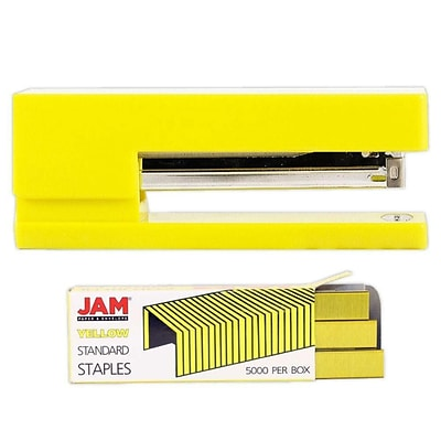 JAM Paper® Office & Desk Sets, (1) Stapler (1) Pack of Staples, Yellow, 2/pack