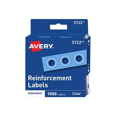 Avery Reinforcement Labels, Clear, 1000/Pack (5722)