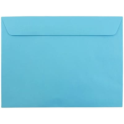 JAM Paper® 9 x 12 Booklet Recycled Paper Envelope, Brite Hue Blue, 100/pack
