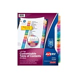Avery Ready Index Numeric Paper Dividers, 31-Tab, Multicolor (11129)