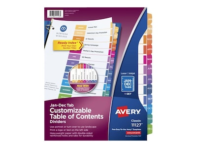 Avery Ready Index Monthly Paper Tab Dividers, 12-Tab, Multicolor (11127)