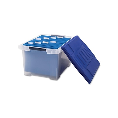 Storex File Storage Box with Snap-On Lid, Letter/Legal Size, Clear/Blue (STX61508U01C)
