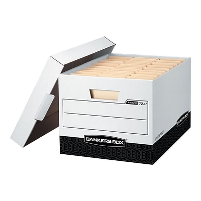 Bankers Box R-Kive® Heavy-Duty FastFold File Storage Boxes, Lift-Off Lid, Letter/Legal Size, White/Black, 12/Carton (00724)