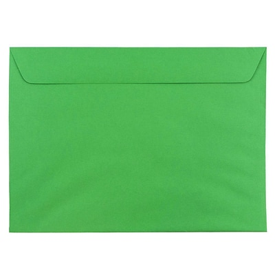 JAM Paper® 9 x 12 Booklet Recycled Paper Envelope, Brite Hue Christmas Green, 100/pack