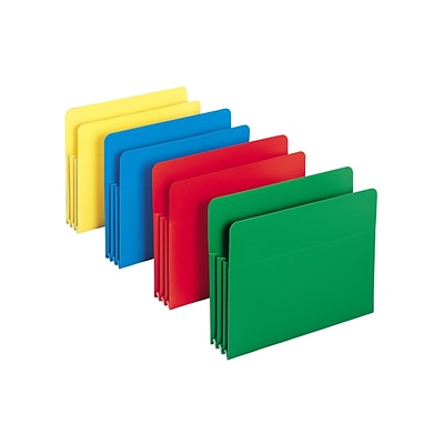 Smead Poly File Pockets, 3-1/2 Expansion, Letter Size, Assorted Colors, 4/Box (73500)