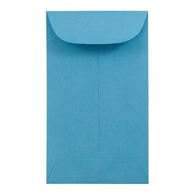 JAM Paper® #3 Coin Business Colored Envelopes, 2.5 x 4.25, Blue Recycled, 50/Pack (356730539i)