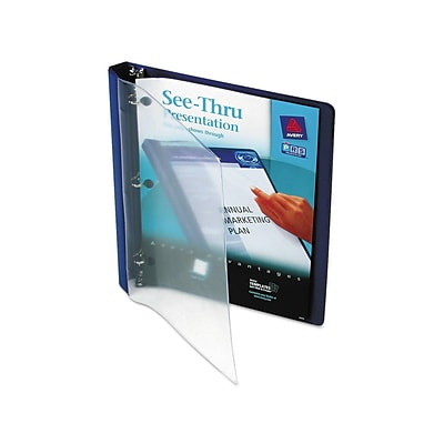 Avery See-Thru Durable 1/2 3-Ring Non-View Binder, Blue (10801)