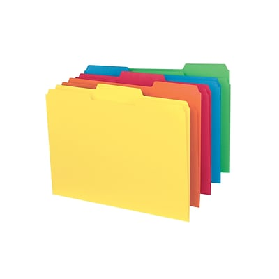 Smead Interior File Folders, 1/3-Cut Tab, Letter Size, Assorted Colors, 100/Box (10229)