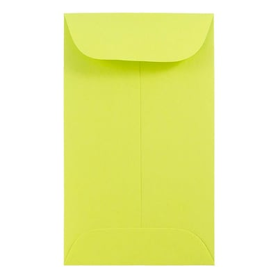 JAM Paper® #6 Coin Envelope, 3 3/8 x 6, Brite Hue Ultra Lime Green, 50/pack