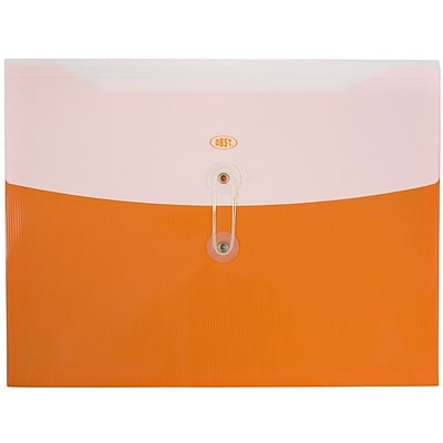 JAM Paper® Plastic Envelopes with Button and String Tie Closure, Letter Booklet, 9 3/4 x 13, Two Tone Orange, 12/pack