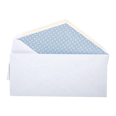 Quill Brand® Gummed Security Tinted #10 Envelope, 4-1/8 x 9-1/2, White, 500/Box (10CR)