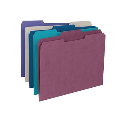 Smead File Folders, 1/3-Cut Tab, Letter Size, Assorted Colors, 100/Box (11948)