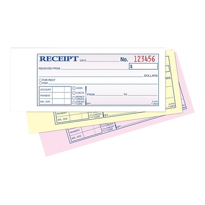 Adams 3-Part Carbonless Receipts Book, 7.19W x 2.75L, 50 Forms/Book, Each (ABF TC2701)